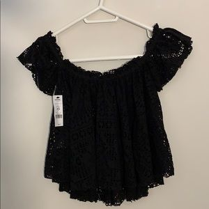 ✨3/$45 NWT GARAGE XS Black Lace Off-Shoudler Shirt